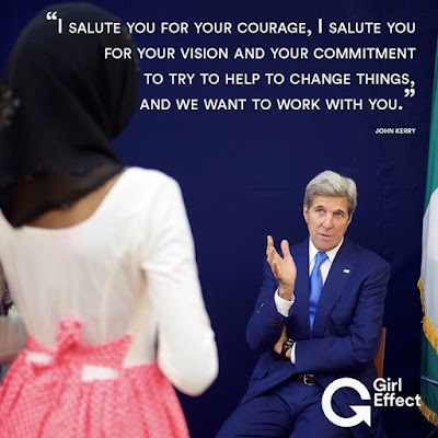 """""""All of you are inspirational"""" How four girls wowed the US secretary of state:"""