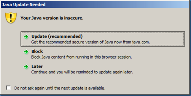 MINDCORE BLOG: Your Java version is insecure