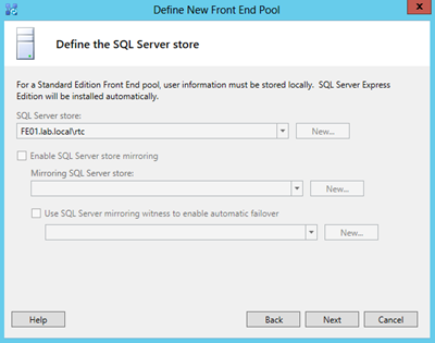 define new pool-define the SQL Server store