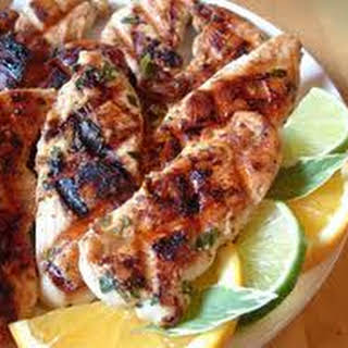 Marinated Chipotle Grilled Chicken with Cilantro Lime Dipping Sauce.