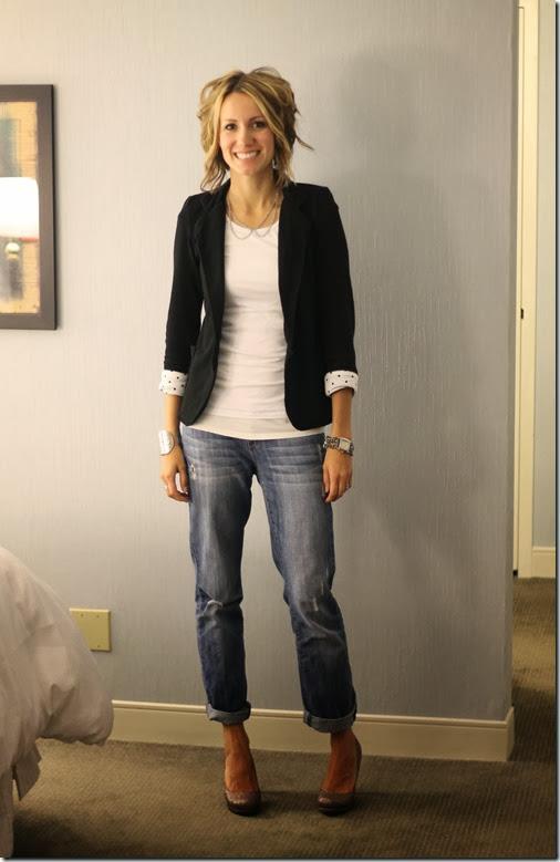 blazer + white tee + boyfriend jeans + sparkly heels