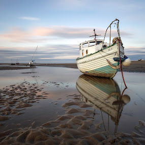 Catching the Light by Raymond Mcbride - Landscapes Beaches ( sunset, boats, reflections, beach, seascape )