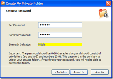 Microsoft Private Folder settare password