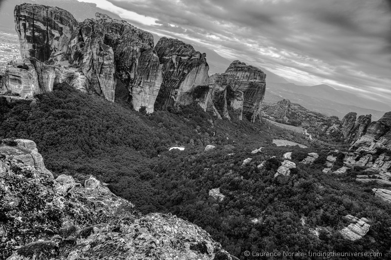 Meteora rocks in black and white greece