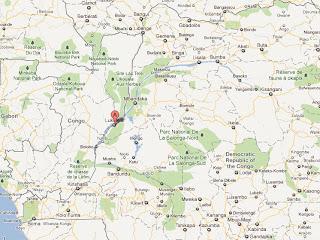 Le point A en rouge, la localité de Lukolela dans la province de l'Equateur en RDC, localisée sur GoogleMap.