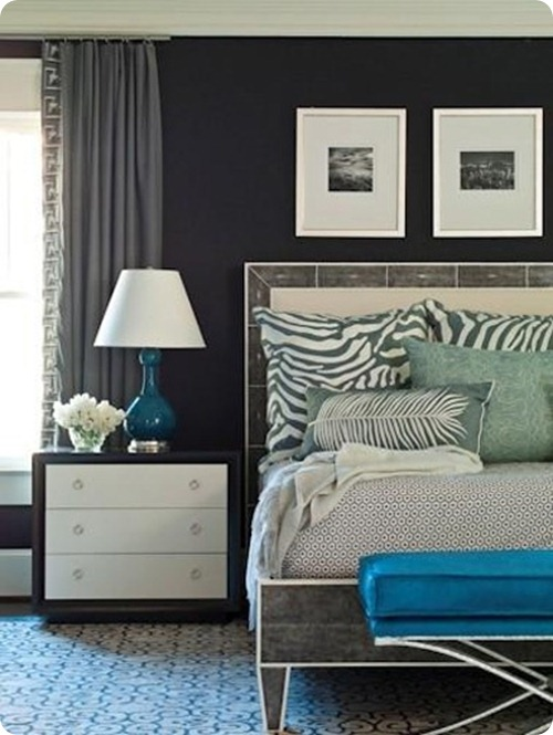 dark walls with aqua and blue