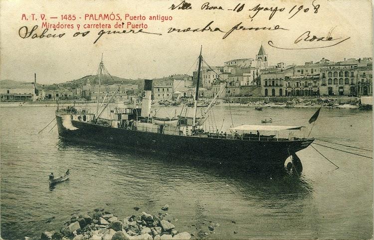 Vapor RUI PEREZ en Palamos. Ca. 1905. Postal.jpg