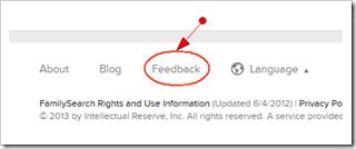 Fumanysearch..org页面底部的反馈链接