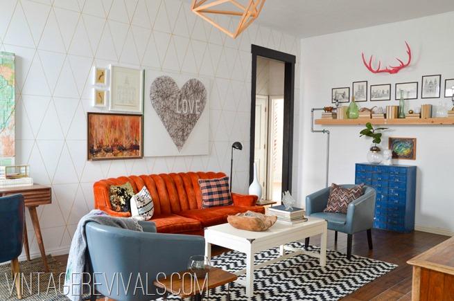 Orange Tufted Couch Living Room Makeover Vintage Revivals