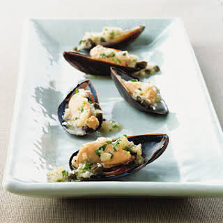 Mussels on the Half Shell with Ravigote Sauce.