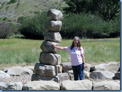 1654 Alberta Lethbridge - Indian Battle Park - Karen at 'rattle' tail of rattlesnake sculpture