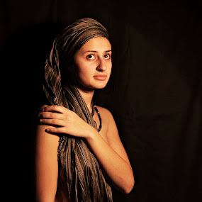 by Micky Mihalache - People Portraits of Women ( woman, scarf, chiaroscuro, photography, portrait )