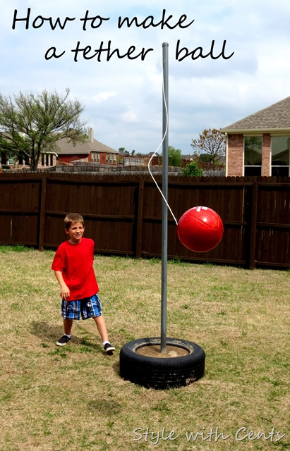 "Budget Friendly DIY Backyard Tether Ball Game Set via Style with Cents ""How to Make a Tetherball. Super inexpensive backyard toy for the whole family. Come on ... harness your inner Napoleon Dynamite. ;) "" #tetherball #diytetherball #backyardgames #diyoutdoorgames #barbecuegames #barbecueideas #backyardpartygames #partygames #outdoorgames #diygames #yardgames #diyyardgames #summergames #summerparty #party #4thofJuly #fathersday #cookoutgames"