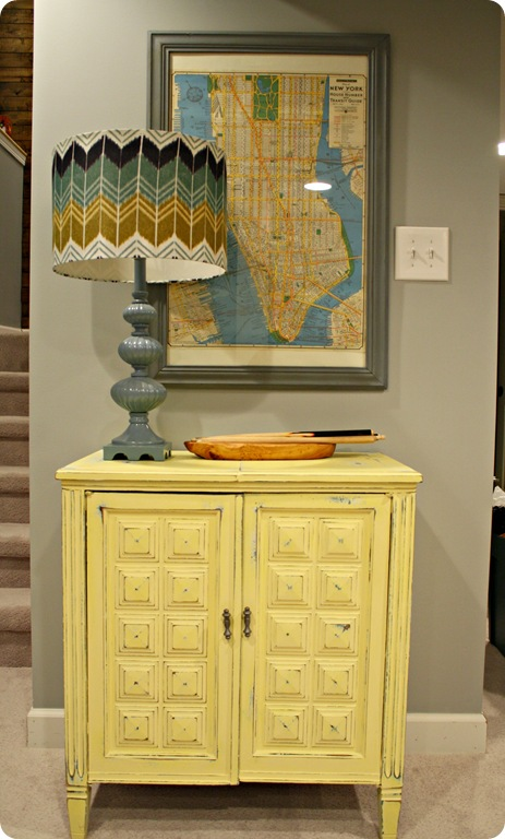 blue yellow vintage sewing cabinet