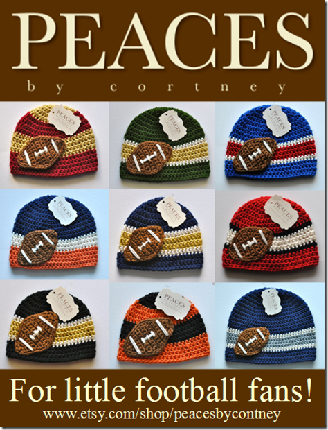 Peaces By Cortney: Handmade Crochet Football Themed Hats & Beanies for Babies & Children