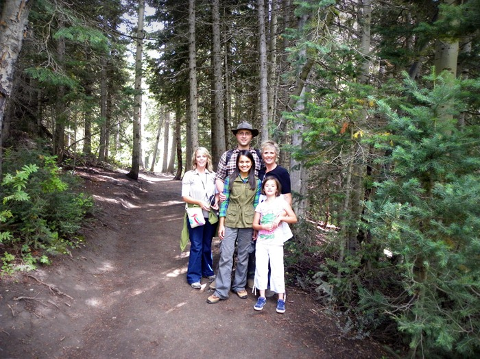 group photo on the trail to Donut Falls in Big Cottonwood Canyon