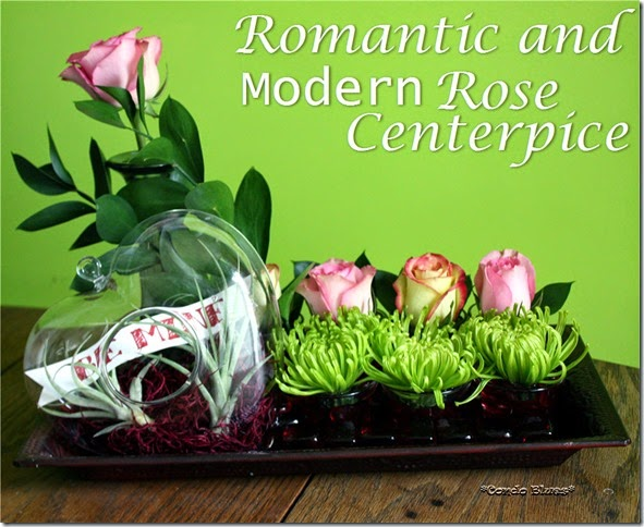 romantic and modern rose centerpiece