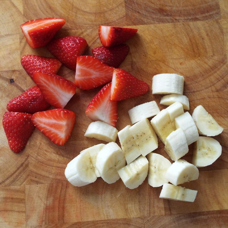 sliced strawberries and bananas