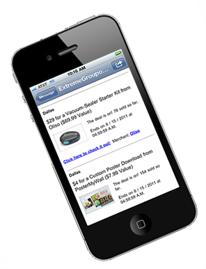 MapForce output from the Groupn API, displayed on a mobile device