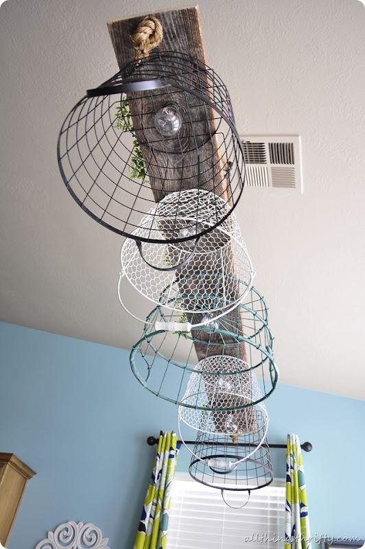 Wire Basket Chandelier Tutorial