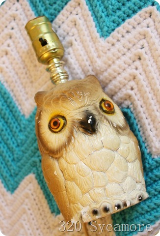 owl lamp makeover before