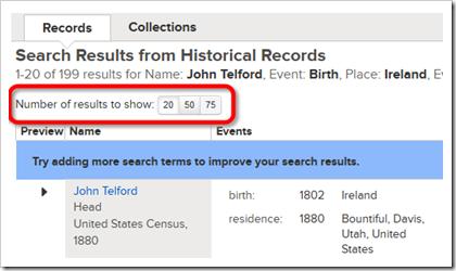 设置FamilySearech.org上显示的搜索结果数。