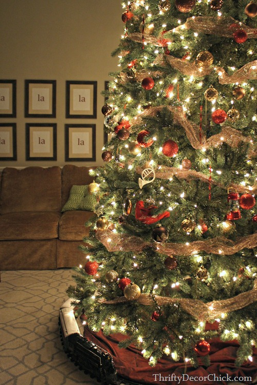 gold red brown Christmas tree