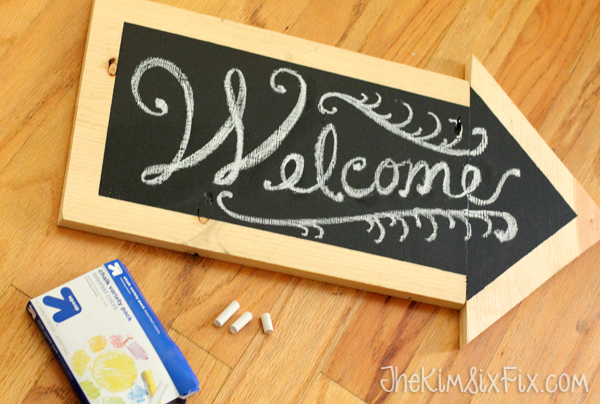 Chalkboard arrow welcome sign
