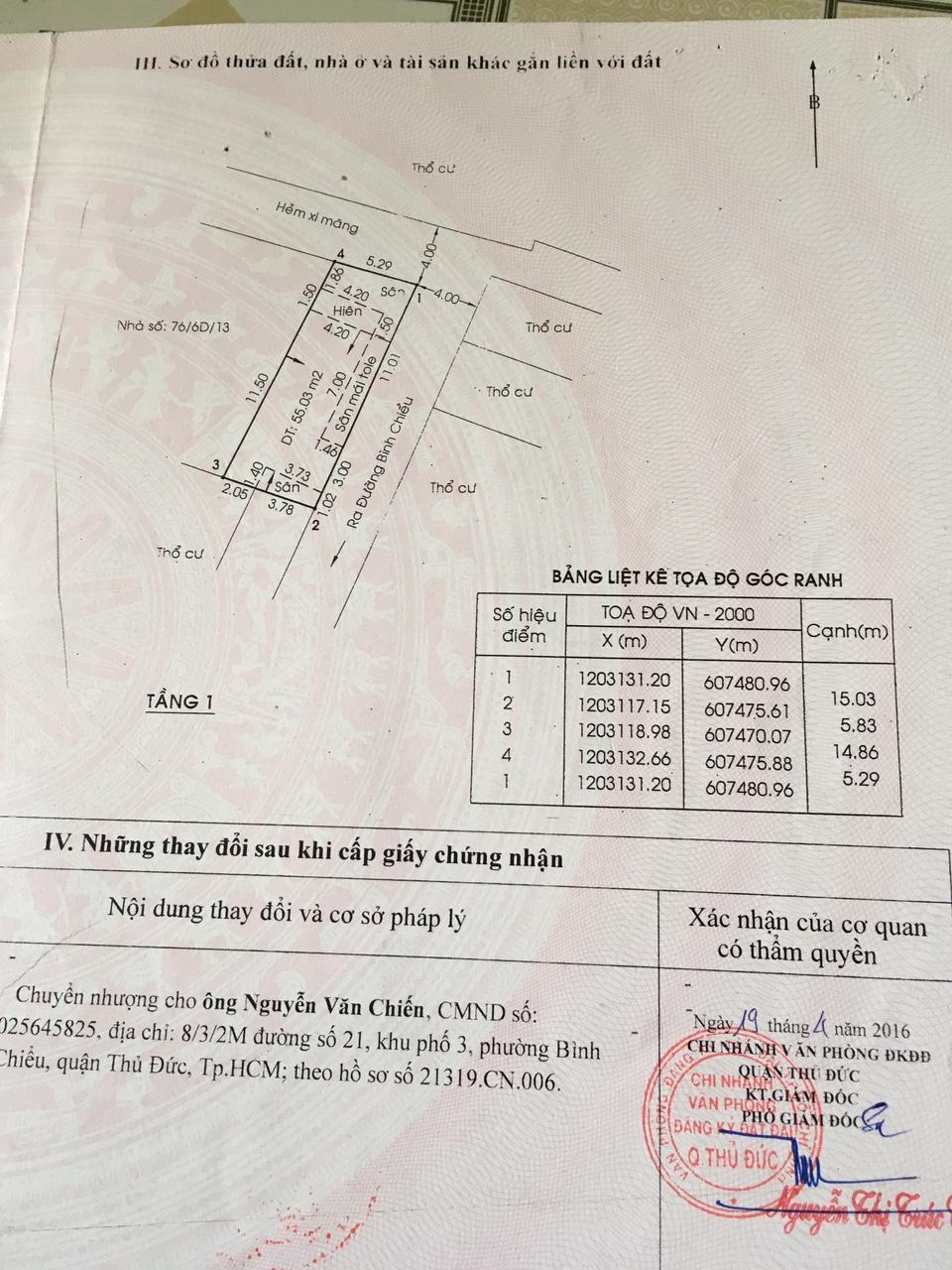Bán nhà cấp 4 hai mặt tiền hẻm đường Bình Chiểu Quận Thủ Đức, Diện tích 82,8 m2, giá 3,5 tỷ.3