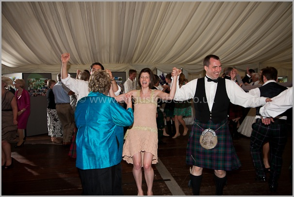 wedding guests having fun at a scottish wedding