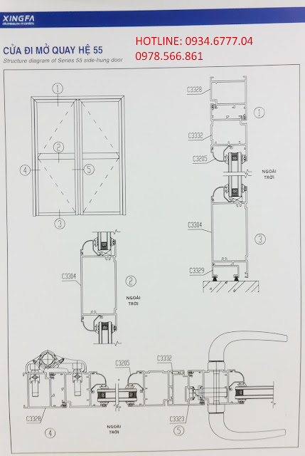 Kết cấu cửa đi mở quay nhôm Xingfa hệ 55