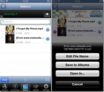 VDownload iPhone gestione video scaricati