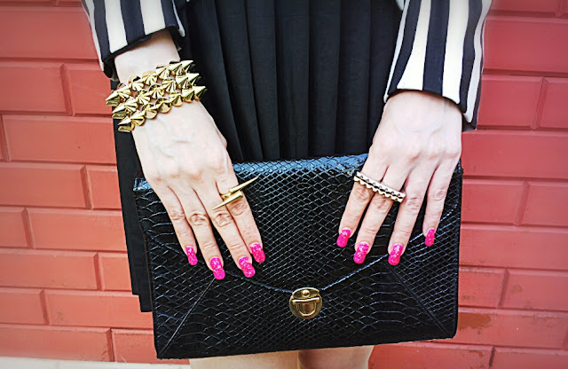 Spike Jewelry, Aldo Knuckle Ring , Mango Faux Snakeskin Clutch