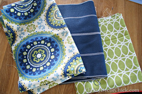 blue and green fabrics