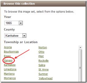 ancestry.com浏览层次结构正确识别Ganeer,伊利诺伊州