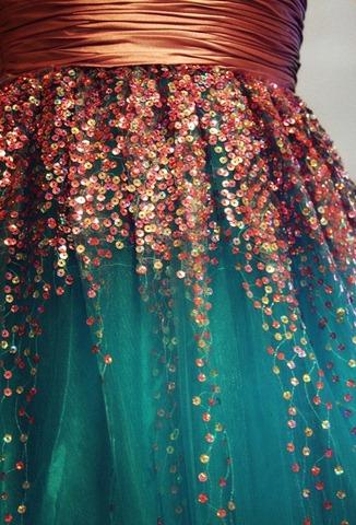 copper teal dress
