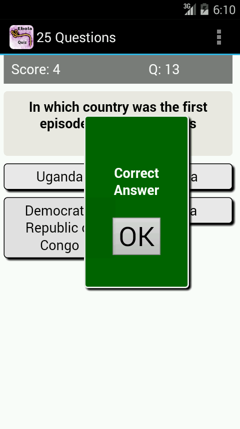 Ebola Virus Disease Quiz- screenshot