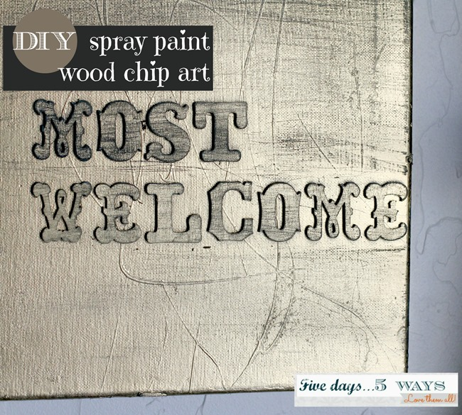 spray paint wood chip art