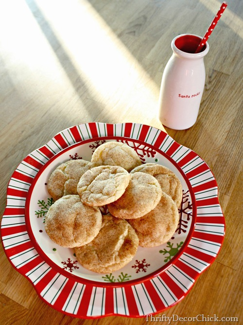 snickerdoodle on red and white plate