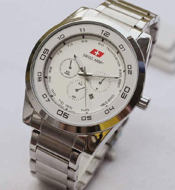 Jual jam tangan  Swiss Army date silver chain white