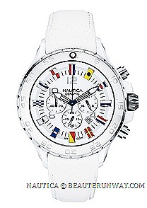 NAUTICA CERAMIC WATCH NST CHRONO SIGNAL FLAG SPORT MODEL 2013 SPRING SUMMER N43508G NAUTICAL TIMEPIECE maritime signal flags hour markers dial signature J-class logo crown 48mm case chronograph water repellent resistant leather