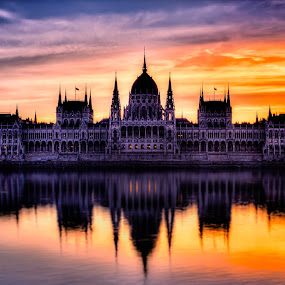 Fire in Budapest by Florin Ihora - Buildings & Architecture Public & Historical ( parliament, hungary, reflection, building, budapest,  )