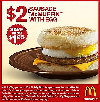 Mcdonalds $2 Offer Sausage Mcmuffin Egg Double Cheese burger Chicken Nugget Curry sauce $3 McSpicy burger cheese July promotion deals offers