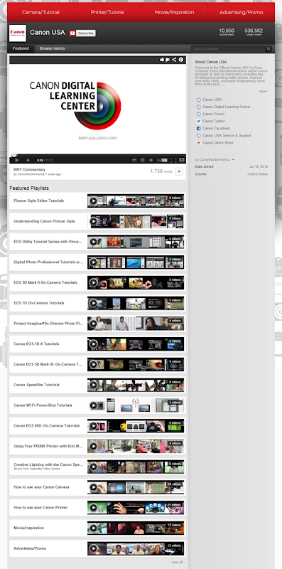 Canon Videos on its YouTube Landing Page