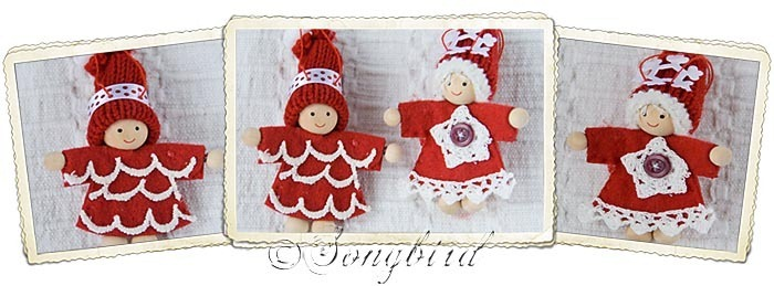 Red Christmas Puppets Ornaments