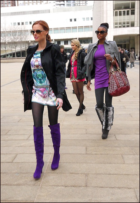 3 women purple knee boots mini print mini dress knee high fur top boots purplr mine dress plgrey jacket