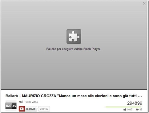 Fai clic per eseguire Adobe Flash Player