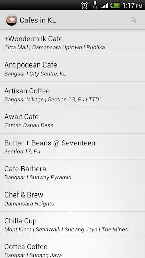 Cafes coffee in Kuala Lumpur