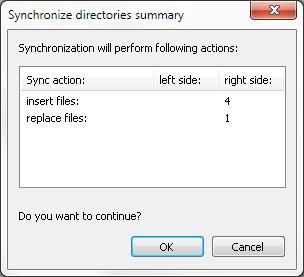 DiffDog Synchronize directories summary