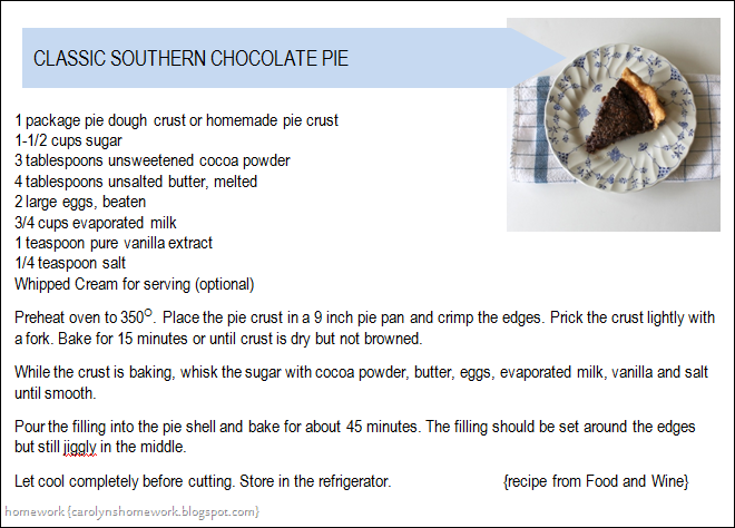 Chocolate Pie Recipe Card Png